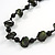 Dark Green Bone and Black Wood Bead with Cotton Cord Necklace - 62cm L - view 4
