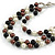 Layered Glass Bead Statement Necklace (Brown/ Black/ White/ Silver) - 62cm L - view 3