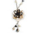Romantic Antique White/ Black Shell and Faux Pearl Bead Flower Pendant with Silver Tone Chain - 78cm L