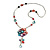 Romantic Multicoloured Shell and Faux Pearl Bead Flower Pendant with Silver Tone Chain - 78cm L - view 3