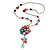 Romantic Multicoloured Shell and Faux Pearl Bead Flower Pendant with Silver Tone Chain - 78cm L - view 6