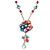 Romantic Multicoloured Shell and Faux Pearl Bead Flower Pendant with Silver Tone Chain - 78cm L - view 7