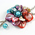 Romantic Multicoloured Shell and Faux Pearl Bead Flower Pendant with Silver Tone Chain - 78cm L - view 4
