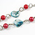 Romantic Multicoloured Shell and Faux Pearl Bead Flower Pendant with Silver Tone Chain - 78cm L - view 5