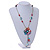 Romantic Multicoloured Shell and Faux Pearl Bead Flower Pendant with Silver Tone Chain - 78cm L - view 2