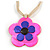 Romantic Shell Flower Pendant with Cream Faux Suede Cords (Deep Pink, Blue) - 40cm L