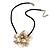 Large Anttique White Shell Flower Pendant with Black Faux Leather Cord - 40cm L/ 4cm Ext