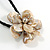Large Anttique White Shell Flower Pendant with Black Faux Leather Cord - 40cm L/ 4cm Ext - view 4