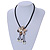 Antique White Shell Flower Pendant with Black Faux Leather Cord Necklace - 46cm/ 8cm Front Drop - view 2
