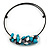Chunky Semiprecious Stone Cluster Pendant with Flex Wire Choker Necklace (Blue/ Grey/ White) - Adjustable