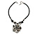 Grey Sea Shell Flower Pendant with Black Faux Leather Cord In Silver Tone - 44cm L/ 6cm Ext - view 3