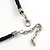 Grey Sea Shell Flower Pendant with Black Faux Leather Cord In Silver Tone - 44cm L/ 6cm Ext - view 6