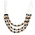 3 Strand Black/ White Glass Bead Wire Layered Necklace - 58cm Long - view 4