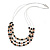3 Strand Black/ White Glass Bead Wire Layered Necklace - 58cm Long