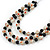 3 Strand Black/ White Glass Bead Wire Layered Necklace - 58cm Long - view 5