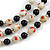 3 Strand Black/ White Glass Bead Wire Layered Necklace - 58cm Long - view 3