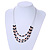 3 Strand Black/ White Glass Bead Wire Layered Necklace - 58cm Long - view 2