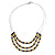 3 Strand Black/ Lemon Yellow Glass Bead Wire Layered Necklace - 58cm Long - view 3