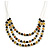 3 Strand Black/ Lemon Yellow Glass Bead Wire Layered Necklace - 58cm Long