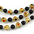 3 Strand Black/ Lemon Yellow Glass Bead Wire Layered Necklace - 58cm Long - view 4