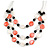 3 Strand White/ Red/ Black Shell and Glass Bead Wire Layered Necklace - 60cm L - view 3