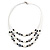 3 Strand White/ Grey/ Black Shell and Ceramic Bead Wire Layered Necklace - 60cm L - view 3