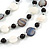 3 Strand White/ Grey/ Black Shell and Ceramic Bead Wire Layered Necklace - 60cm L - view 4