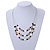 3 Strand White/ Brown/ Black Shell and Ceramic Bead Wire Layered Necklace - 60cm L - view 2