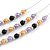 3 Strand Purple/ Orange/ Black Acrylic Bead Wire Layered Necklace - 60cm Long - view 5