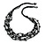 Multistrand Black Wood Beaded Cotton Cord Necklace - 70cm Length