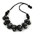 Chunky Wood Bead Cotton Cord Necklace (Black/ Silver) - 66cm L - view 2