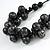 Chunky Wood Bead Cotton Cord Necklace (Black/ Silver) - 66cm L - view 3