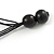 Chunky Wood Bead Cotton Cord Necklace (Black/ Silver) - 66cm L - view 5