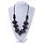 Chunky Wood Bead Cotton Cord Necklace (Black/ Silver) - 66cm L - view 6