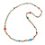 Long Pastel Multicoloured Shell Nugget, Ceramic and Glass Crystal Bead Necklace - 116cm L - view 5