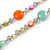 Long Pastel Multicoloured Shell Nugget, Ceramic and Glass Crystal Bead Necklace - 116cm L - view 3