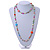 Long Pastel Multicoloured Shell Nugget, Ceramic and Glass Crystal Bead Necklace - 116cm L - view 2