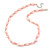 Pastel Pink Coin Shell and Crystal Glass Bead Necklace with Silver Tone Closure - 56cm L/ 5cm Ext