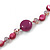 Long Plum Shell Nugget, Ceramic and Glass Crystal Bead Necklace - 112cm L - view 4