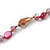 Long Plum Shell Nugget, Ceramic and Glass Crystal Bead Necklace - 112cm L - view 3