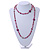 Long Plum Shell Nugget, Ceramic and Glass Crystal Bead Necklace - 112cm L - view 2