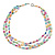 3 Row Layered Pastel Multicoloured Shell And Glass Bead Necklace - 58cm L - view 5