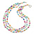 3 Row Layered Pastel Multicoloured Shell And Glass Bead Necklace - 58cm L