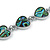 Romantic Multi Heart Necklace With Natural Greenish Blue Abalone Shell in Silver Tone - 42cm Long - view 3