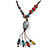 Handmade Blue, Red Ceramic Bead Tassel Brown Silk Cord Necklace - 46cm to 66cm Long (Adjustable) - view 3
