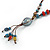 Handmade Blue, Red Ceramic Bead Tassel Brown Silk Cord Necklace - 46cm to 66cm Long (Adjustable) - view 4