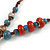 Handmade Blue, Red Ceramic Bead Tassel Brown Silk Cord Necklace - 46cm to 66cm Long (Adjustable) - view 5