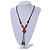 Long Orange/ Teal Ceramic Bead Tassel Necklace with Brown Cotton Cord - 80cm L/ 10cm Tassel - view 2
