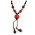 Long Orange/ Teal Ceramic Bead Tassel Necklace with Brown Cotton Cord - 80cm L/ 10cm Tassel - view 3