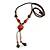 Long Orange/ Teal Ceramic Bead Tassel Necklace with Brown Cotton Cord - 80cm L/ 10cm Tassel - view 5